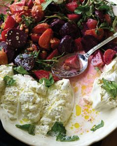Roasted Beets with Burrata Cheese and Walnuts recipe