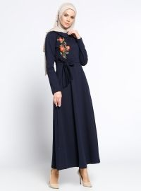 Navy Blue - Floral - Round Collar - Unlined - Dress - Bwest