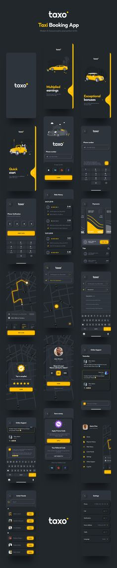 Design Taxo Ui Kit Taxo is customisable and well organized Taxi Booking app UI Kit. This Ui Kit helps you to quickly create a modern and minimalistic App. If you need a great tool to create a great design, then this is for you! Interface Design, Ui Ux Design, Design Responsive, Dashboard Design, Flat Design, Graphic Design, Mobile Ui Design, Design Websites, Ui Kit