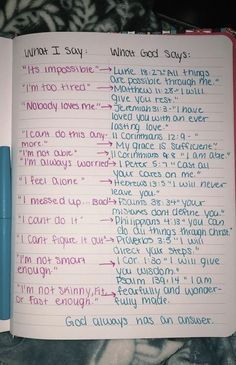 """God's responses (Bible verses) to """"what I say� Bible Verses Quotes, Bible Scriptures, Faith Quotes, Bible Verses For Strength, Bible Quotes For Teens, Strength Prayer, Bible Versus About Strength, Bible Versus About Love, Women Bible Verses"""
