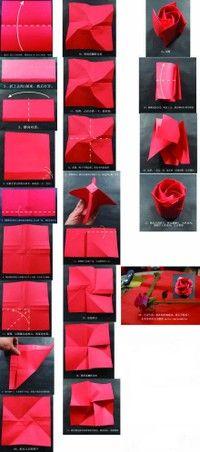 rosa de origami en pinterest papel de origami flores de origami y
