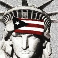 Puerto Rican flag on the Statue of Liberty.