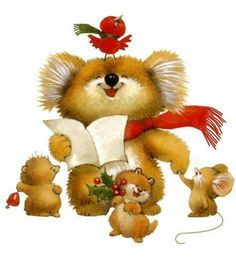 Whimsical caroling bears
