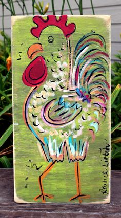 "Rustic Distressed Wood Sign ""Rooster"". $20.00, via Etsy.... I want to make an OWL! ~ L"
