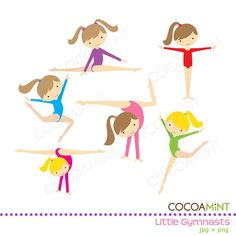 Little Girl Gymnasts Clip Art by cocoamint on Etsy, $5.00