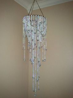 Handmade Chandelier Wire Coat Hangers Strung Beads And Silver Spray Painted Sea Shells