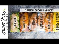 7 chicken marinade recipes you can freeze. This post shows you exactly how to marinate chicken breasts to get the BEST flavor, and how to freeze them for easy convenient dinners.Video and printable included.