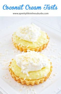 These Coconut Cream Tarts with a Shortbread Cookie Crust are simple to make, and are SO delicious! This recipe makes 6 - 3 inch tarts, or 1 -10 inch tart. Recipes With Coconut Cream, Coconut Recipes, Cream Recipes, Lemon Dessert Recipes, Coconut Desserts, Cookie Recipes, Pie Recipes, Rock Recipes, Sweet Recipes