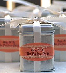 """perfect blend"" tea wedding favor - table to create your own or pre packaged. Provide 1 cloth tea bag per tin."