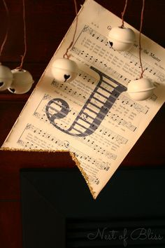 DIY Christmas Banner - Sheet Music Garland