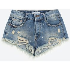 STUDDED DENIM SHORTS - SHORTS-WOMAN | ZARA Denmark (120 RON) ❤ liked on Polyvore featuring shorts, studded jean shorts, denim shorts, short jean shorts, studded shorts and studded denim shorts