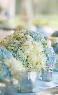 Centerpiece ideas for blue-colored theme wedding.