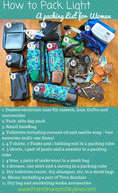 Travel packing list - a peek inside my bag lighter, woman and vacation. Carry On Packing, Suitcase Packing, Packing List For Travel, Packing Tips, Travel Tips, Travel Hacks, Mission Trip Packing, Mission Trips, Vacation Packing