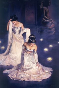 """Jia Lu: Lotus Dancers. I love almost all of Jia Lu's paintings but her """"Lotus"""" series are the best, elegant and dreamy."""