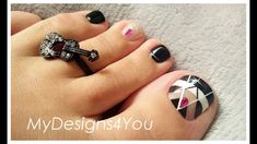 Quick Black & White Toenail Art Design | Abstract Pedicure ♥ Toe Nail Art, Toe Nails, White Toenails, Toenail Art Designs, Nail Art Videos, Manicure And Pedicure, Art Tutorials, Swatch, Nail Polish