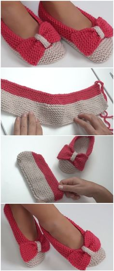 How to make booties with a bow - crochet or knit .- Wie man Booties mit Schleife macht – häkeln oder stricken How to make looped booties – crochet or knit - Booties Crochet, Crochet Socks, Crochet Stitches, Crochet Baby, Crochet Bikini, Knit Crochet, Knit Socks, Baby Booties, Knit Slippers Free Pattern