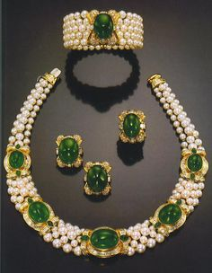 Bulgari Pearl and Emerald Parure.