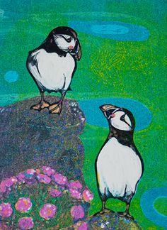 Louise Worthy 'Puffins and Sea Pinks' Ink Monotype