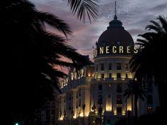 Le Negresco Hotel at sunset.  Nice, France.