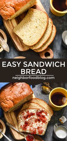 This Fluffy Homemade White Bread is the perfect beginner bread recipe. It's super fluffy, flavorful, and great for sandwiches or warm with a smear of butter and jam. Healthy Sandwich Recipes, Grilled Cheese Recipes, Beef Recipes, Yummy Recipes, Amish White Bread, Homemade White Bread, Beginners Bread Recipe, Best Bread Recipe, Homemade Desserts