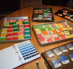 cookies made in Pantone colours! adorable, but I can't imagine mixing all those frostings.