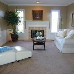 Sherwin Williams Latte, but picture the fireplace with black rock instead of the delicate white