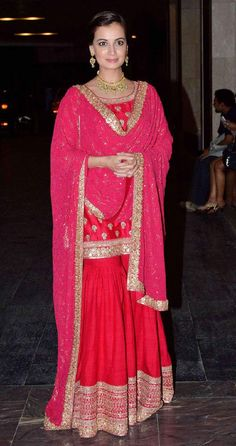Wedding guest style - Sangeet - Dia Mirza in a red & hot pink Sabyasachi sharara 1 - Masaba Gupta and Madhu Mantena Wedding 2015 Pakistani Dresses, Indian Dresses, Indian Outfits, Pakistani Sharara, Bridal Anarkali Suits, Wedding Lehnga, Anarkali Dress, Bridal Lehenga, Wedding Dresses