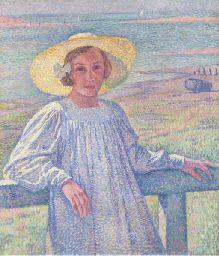 THEO VAN RYSSELBERGHE (1862-1926)  Jeune fille au chapeau de paille (Elisabeth Van Rysselberghe)  Price realised  EUR 773,600 USD 1,027,299 Estimate EUR 200,000 - EUR 300,000 (USD 265,589 - USD 398,384)