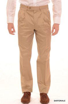 RUBINACCI Napoli Gold Cotton Double Pleated Dress Pants NEW Wide Leg