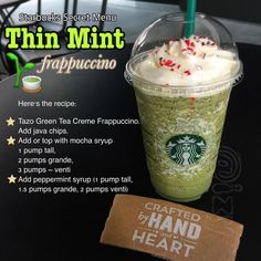 You can also repeat these exact directions to get yourself a one-of-a-kind Thin Mint Frappuccino. Here Are 15 Ways People Hacked Fast Food Menus So Now You Can Too Starbucks Frappuccino, Healthy Starbucks Drinks, Yummy Drinks, Healthy Drinks, Starbucks Coffee, Starbucks Order, Nutrition Drinks, Starbucks Secret Menu Items, Starbucks Secret Menu Drinks