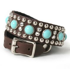 Turquoise Cabs with Studs and Crystals on Chocolate Leather Dog Collar