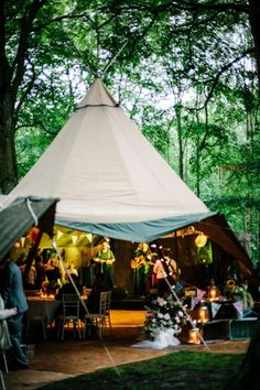 James and Jade's Magical Woodland Wedding by Mark Tierney / Have the ceremony under a tent, and the reception in a wide open space in the woods.
