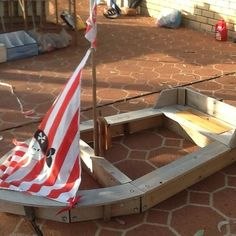 Someone in Sydney is selling this on ebay - just pinning it for design ideas. OUTDOOR KIDS WOODEN TOY BOAT SANDPIT