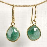 Rose Cut Emerald Earrings