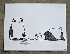 Panda Pizza Party  8.5x11in.  Panda Print by HsqrdCreative on Etsy, $24.00