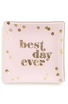 This shimmery pink & gold trinket tray is too cute.