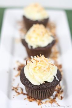 We're drooling over these award-winning Chocolate Coconut Cupcakes from our friend @Carla | Chocolate Moosey. They're filled with an amazing Coconut-Almond filling and topped with a Coconut Milk Frosting!