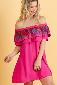 Umgee Fuchsia Off Shoulder Flowy Swing Dress w/ Floral Embroidery Ruffle Top S-L #Umgee #ShiftTunicOffShoulderDressEmbroideredDressSwingDress #Casual