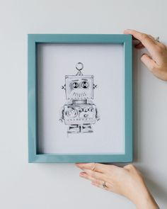 Vintage robot print vintage toy decor kids robot by milisprintwork