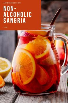 Non-Alcoholic Sangria Recipe! Looking for a yummy whole family friendly drink recipe for the summer? This sweet non-alcoholic sangria recipe is simple and delicious!