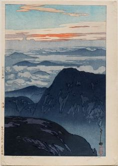 Eboshidake (Eboshidake no asahi [Sunrise on Mount Eboshi]), from the series Twelve Scenes in the Japan Alps (Nihon Arupusu jûni dai no uchi)        「日本アルプス十二題の内 烏帽子岳の旭」        Japanese, Taishô era–Shôwa era, 1926 (Taishô 15/Shôwa 1)      Yoshida Hiroshi, Japanese, 1876–1950