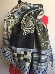 LARGE PAISLEY FLORAL WRAP SCARF - OLIVE GREEN GOLD GRAY BLACK - LONG FRINGED
