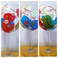 Bird lovers!! Me included!  Accessorize your glass - drink Glassessorized! Visit my site at artsyware.wix.com/glassesorized to see the entire collection! #paint #paintedglass #art #artsy #paintedwineglass #glass #wine #gift #glassesorized #follow #followme #accessorize #drink #design #flower #bird #birds #pink #green #blue #dots #unique #flowers