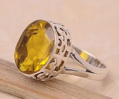 Lemon Quartz .925 Sterling Silver Jewelry Ring Size 7