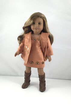 """18T Uptown Girl - Dress, Coat and Boots for 18"""" Dolls like American Girl (R) Doll Lea, Grace , McKenna, Rebecca, Kit, Lanie and Saige"""