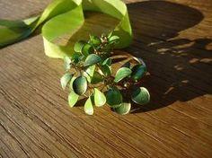 fabriquer des bijoux et pendentif vert avec anneau plaqué or