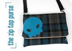 Free tutorial: A quirky little purse with a zip-top flap and skull motif >w< #diy #sewing