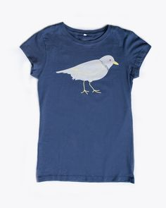 Piping Plover Tee in Navy. A nod to the Piping Plovers that populate the beaches of New England.  Put a bird on it. American Made, 100% Cotton.