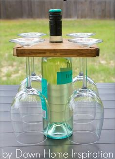 DIY Wine Bottle And Glasses Holder | Clever DIY Wood PalletProjects You Can Do Now
