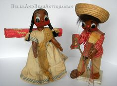 1950s Handmade Mexican Souvenir Dolls with Stands - Senor & Senora are made of #paper_mache